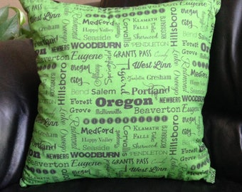 Oregon cities pillow - OR typography throw pillow - green and black decorative pillow - gift - 18 inch cushion