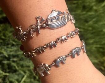 Vintage Noah's Ark and Elephant Bracelets/Charms