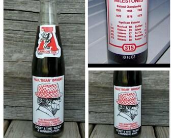 Vintage Alabama Crimson Tide Paul Bear Bryant Bottle Coke Coca Cola 10 Unopened Glass Commemorative 315 10oz Milestones Full Ounce Oz