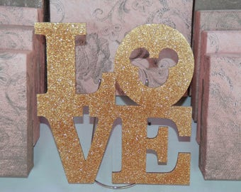Love Sign with Mickey Ears for Wedding Photos or Centerpiece Custom Made / Colored to Order