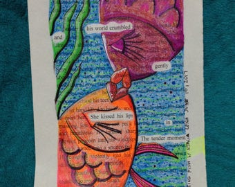 Blackout Poetry -  Kissing Fish (Dealing with Blue) - Art and a Donation to AHA