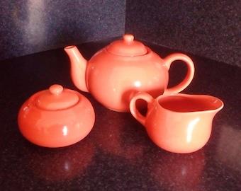 Vintage Orange Tea Set Ceramic Teapot Sugar Bowl Creamer Porcelain Tea Set Cottage Kitchen Glazed Tea Set Retro Tea Set Country Kitchen