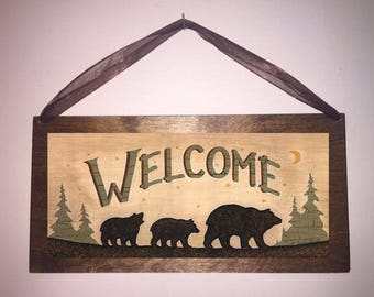 12x6 Welcome Bears Forest Home Decor Sign with Choice of Black Wire or Brown Ribbon for Hanging
