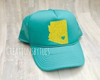 Trucker Hat, Teal Trucker Hat, AZ Hat, Arizona, Custom Hat, State Hat, Custom Trucker Hat, Custom, womens trucker hat