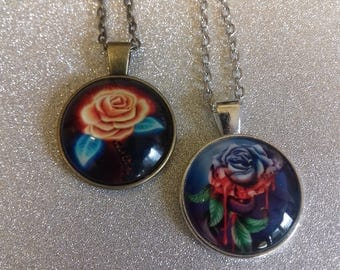 Rose pendant necklaces/gothic chains with pendant