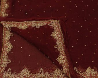 Vintage Indian Maroon Dupatta Pure Chiffon Silk Hand-Beaded Decor Veil Stole Traditional Scarves VDPC3215