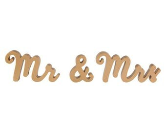 Mr And Mrs Standing Letters / 8 x 14cm / Self Standing / Decorative