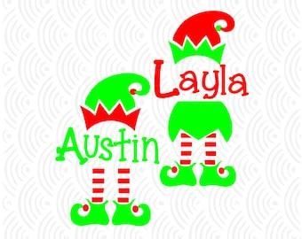 Christmas Elf Monogram Cuttable Design in SVG; DXF; Ai; Pdf; Eps
