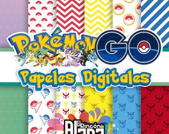 10 digital papers 12 x 12 Pokemon Go
