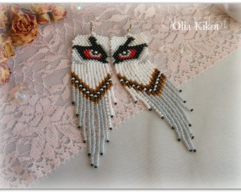 SALE Earrings The Owl's Look is long made of beads Original owl earrings beautiful earrings long summer original Valentine's Day gift
