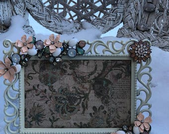 Vintage Jeweled/Rhinestone/Adorned/Floral  Picture/Photo Frame