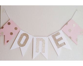 Pink Birthday Banner, Pink and Gold, First Birthday Banner, Gold First Birthday