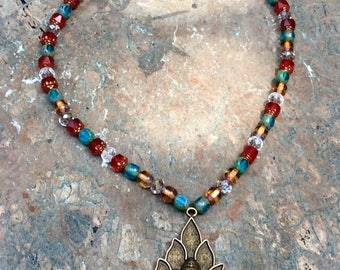 """Pearl Crystal and Cathedral glass and glass """"fire polished"""" necklace"""