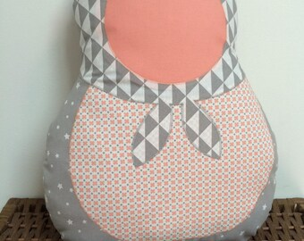 Cushion theme matryoshka gray and coral decor baby room