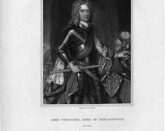 John Churchill, Duke of Marlborough Antique Engraving c.1836