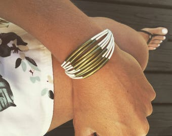 Bronze Cuff Bracelet, woman, White leather and tube bead, made in France by Pelva