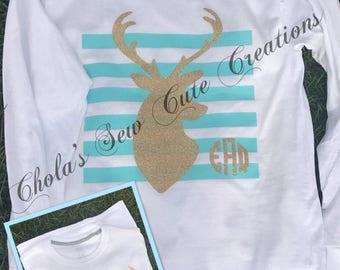 Personalized deer vinyl shirt