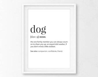 Dog Definition Print - Printable Definition, Dog Printable, Dog Poster, Dog Wall Art, Cute Dog Poster, Funny Dog Print, Definition Prints