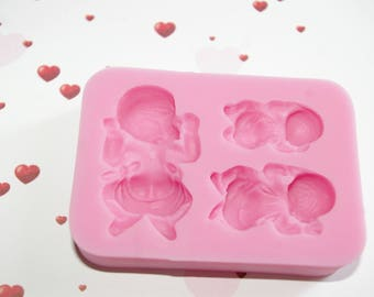 3 silicone mold baby patterns with diapers