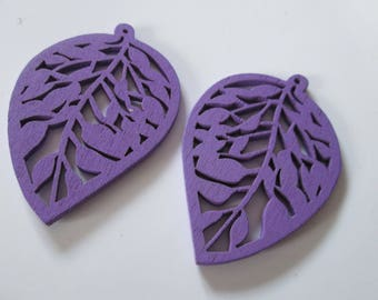 2 prints wood perforated, wood leaf beads purple 51 x 35 mm