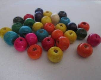 20 flat beads, wooden paletsronds painted 8 x 6 mm