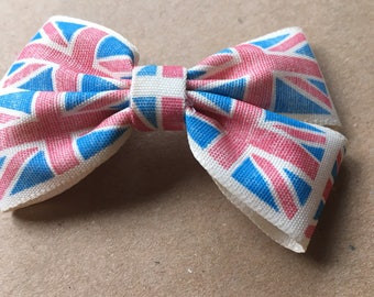Vintage Union Jack ribbon hair bows