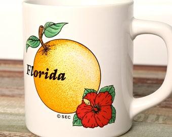 Vintage Florida Souvenir Coffee Mug-Made in Japan-Florida Orange Coffee Cup-Ceramic Retro Orange Fruit Mug-
