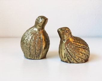 Vintage Sitting Brass Birds + Set of 2 + Hollywood Regency + Bohemian Style + Mid Century + Bird Lover Decor + Desk Paper Weight