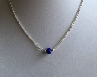 "Royal blue bead on an 18"" sterling silver chain.  Minimalist necklace"