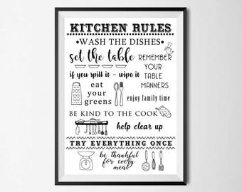 Kitchen Rules Wall Print - Home Decor, Wall Art, Kitchen Print