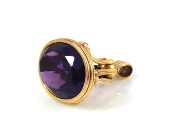 Victorian Faceted Amethyst 14K Gold Pocket Watch Fob - X4420