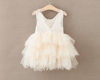 Girls lace flower princess dress , girls wedding dress , birthday dress, Photo shoots
