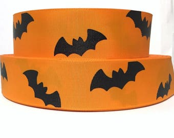 "GROSGRAIN RIBBON 1.5"" Halloween Bats Printed By the Yard"
