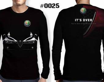 New ultramodern 3D  High Quality  Mens  Long Sleeve Black  T-shirt Alfa Romeo It's over