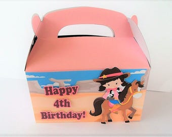 Cowgirl Pink Gable Boxes, Cowgirl treat bags, cowgirl goodie bags, Set of 10