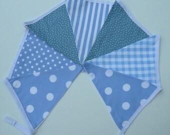 Boy's Fabric Bunting, Baby Blue Nursery Bunting. Handmade 7 flag Bunting.  Baby Boy Gift Ready to Post.