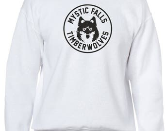 The Vampire Diaries inspired White Crewneck Sweatshirt - Jumper - Pullover - Mystic Falls New Timberwolves