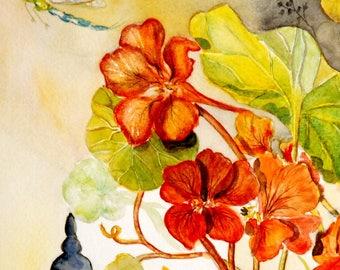 Contemporary Art Original, modern painting, watercolor painting of Mary nasturtiums