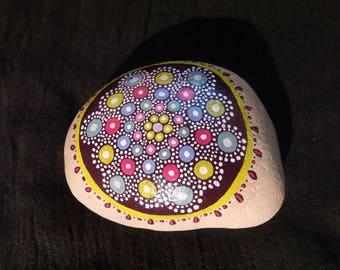 Painted mandala stone paperweight bubble / pastel