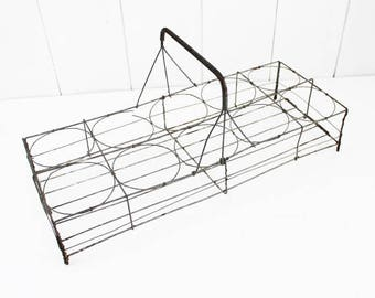 Antique French wire glass carrier. For 10. Wire basket. Antique basket. French wire basket. Glass carrier. Wire rack. France, E174