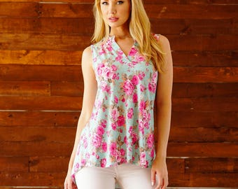 Style By Chris Gabby Sleeveless Blouse Top Mint and Pink