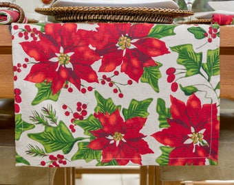 Christmas Red Poinsettia Table Runner