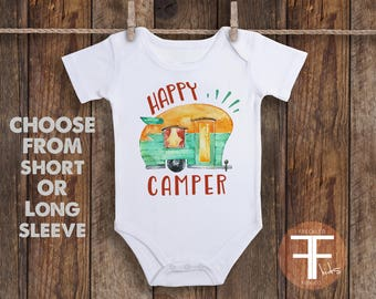 Happy Camper Onesie, Baby Boy Clothes, Camping Onesie, Cute Baby Clothes, Cute Onesies, Baby Shower Gift, Boho Baby Clothes, Retro Camper