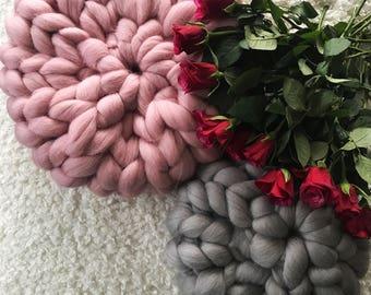 Chunky wool pillow - Gr. M - Merino decorative pillow