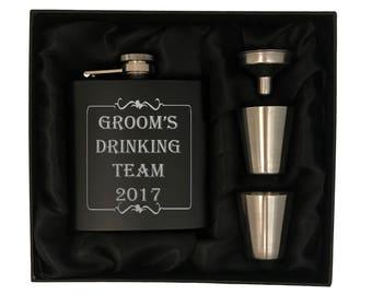 Bachelor Party Flask Sets - Groomsmen Gifts - Grooms Drinking Team - Bachelor Party Gift Sets -Groomsman Gift Set