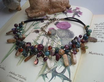Natural jewelry jade jasper purple necklace rustic wedding party special necklace wire wrap boho jewelry