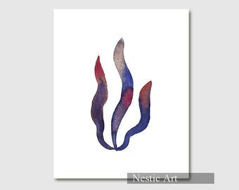 Ocean Plant, print, Blue coral poster, seaweed painting, Nautical poster, Marine, watercolor illustration
