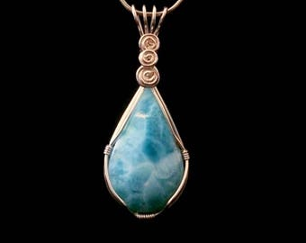 Larimar Teardrop in Silver, Wire Wrapping, Gemstone