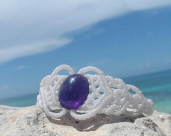 Macrame jewelry, Amethyst bracelet