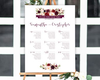 Personalized Printable Wedding Seating Chart, Wedding Seating Chart, Burgundy Seating Chart, Floral Seating Chart, Find Your Seat